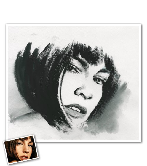 Our talented, professional artists will create a unique Ink Rendering based upon your personal photo(s). Painted using rapid brush strokes and artistic interpretations, these one of a kind, hand created artworks are sure to impress any gift recipient!