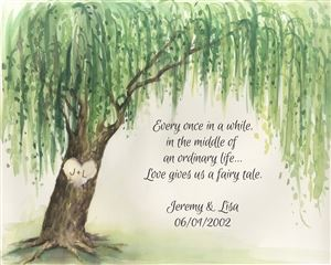 Custom Watercolor Print of Weeping Willow with Your Text for Wedding and Anniversary