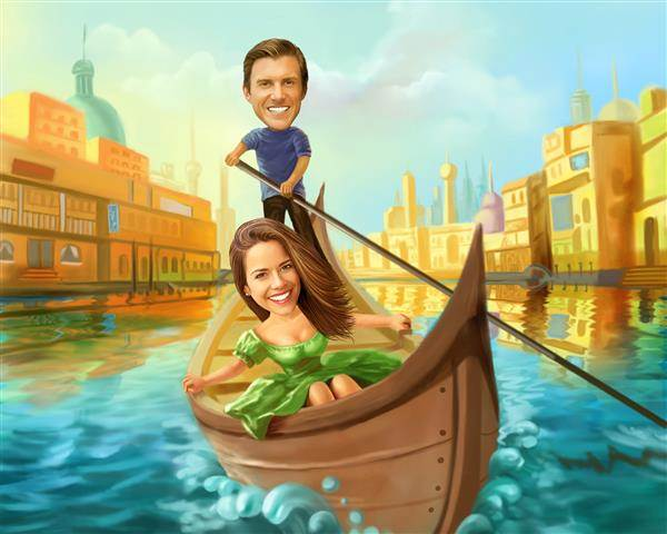 Love in a Gondola Caricature from Photos