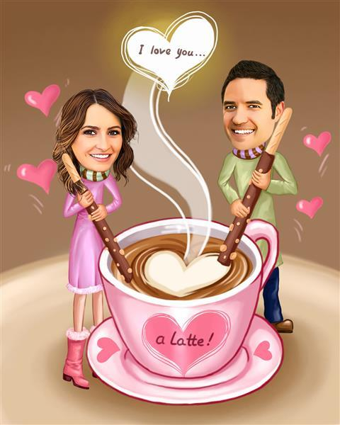 I Love You a Latte! Caricature from Photos