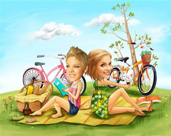 Lovely Picnic F/F Caricature from Photos