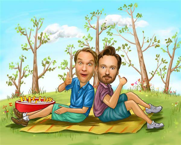 Lovely Picnic M/M Caricature from Photos