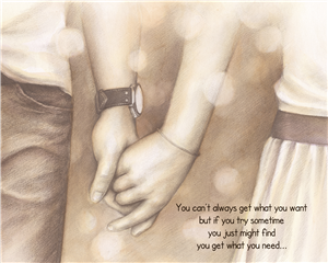 Holding Hands Forever - DaVinci Sketch Print with Custom Text for Anniversary, Wedding, etc.