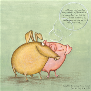 Pigs in Love - Watercolor Print with Custom Text