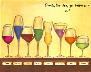 Cheers to Friendship Wine Glasses VIII - Watercolor Print with Custom Text for Your Friends