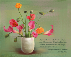 Flowers for Mother III - Watercolor Print with Custom Text