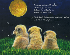 Dogs Under the Moon - Watercolor Print with Custom Text