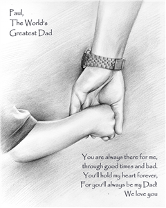 World's Greatest Dad Pencil Sketch Print with Quote
