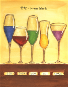 Cheers to Friendship Wine Glasses V - Watercolor Print with Custom Text for Your Friends