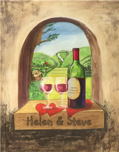 Italian Vineyard for Two - Watercolor Print with Custom Text for Anniversary