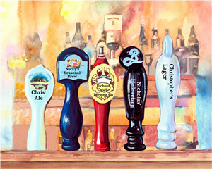 Personalized On Tap V Watercolor Print with Text