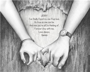 Holding Hands - Pencil Drawing Print with Custom Names and Text for Anniversary
