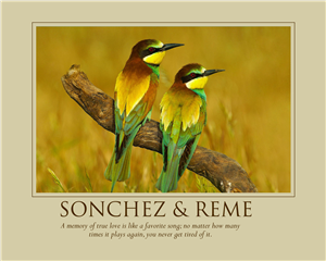 Love Birds Singing - Print with Custom Text for Anniversary