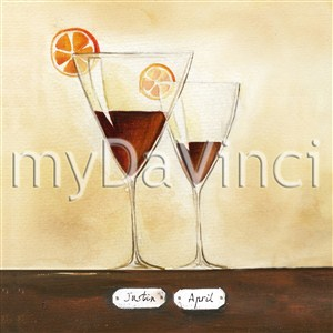 Good Cheer with Red Wine II - Watercolor Print with Custom Text