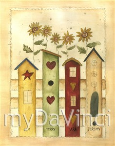 Bird Houses Watercolor