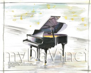Piano - Watercolor Print with Custom Text