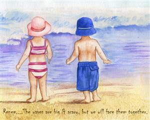 Boy and Girl by Sea Watercolor
