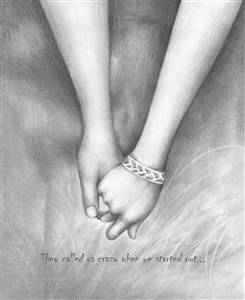 Pencil Sketch Print with Custom Text - Walking Hand in Hand Forever - For Anniversary, Wedding, etc.