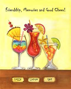 Cool Tropical Drinks III - Watercolor Print with Custom Text for Your Friends