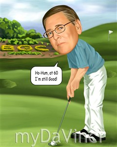 Male Golfer Caricature from Photo