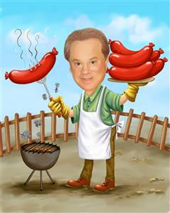 Picnic Cook Man Caricature from Photo
