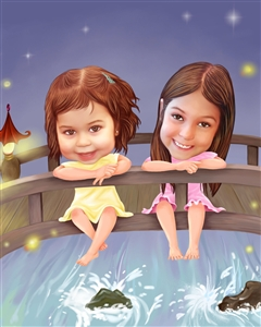 Splish Splash Bridge Caricature from Photos