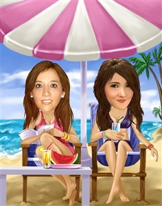 Two Beach Girls Caricature from Photos
