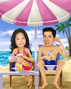 Beach Couple Caricature from Photos