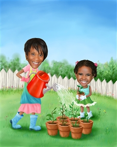 Gardening Together Caricature from Photos