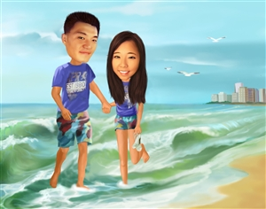 The Vacation Couple Caricature from Photos