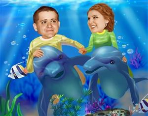 Underwater Adventure Romance Caricature from Photos