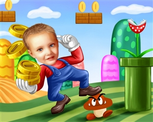 Mario Power Up Gamer Caricature from photo