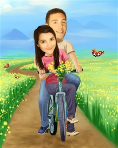 Couple Caricature from Photo - Riding Thru the Fields Together