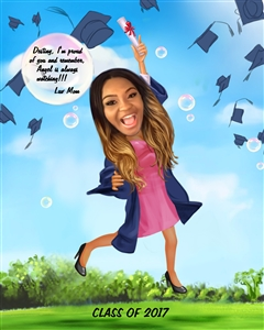 Her Graduation Caricature from Photo