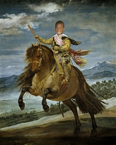 Custom Renaissance Portrait Little Prince Baltasar on Horseback from Photo