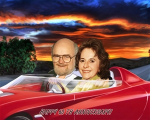 Driving Couple Caricature from Photos