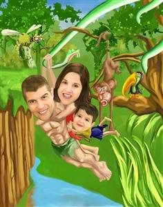 Tarzan and Jane Jungle Adventure Caricature from Photos