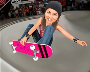 Skateboarding Girl Caricature from Photo