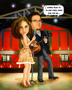 Rock Star Couple Caricature from Photos