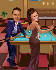 She's a Pool Shark Caricature from Photos