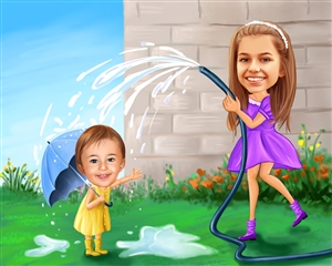 Family Water Fun Caricature from Photos
