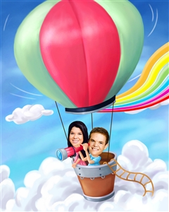 Couple Caricature from Photo - Hot Air Balloon Ride