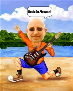 Guitar Player Caricature from Photo