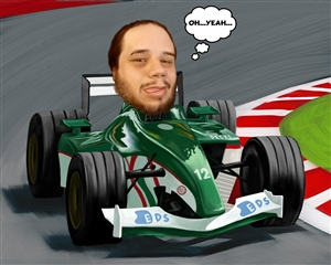 Race Car Driver Caricature from Photo