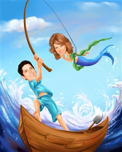 What a Catch Romance Caricature from Photos
