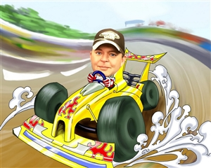 Car Racing Caricature from Photo