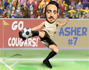 I Love Soccer Caricature from Photo