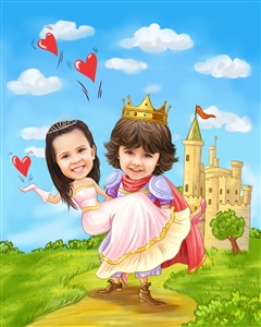Knight and Princess Romance Caricature from Photos
