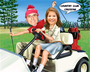 Golfing Couple Caricature from Photos