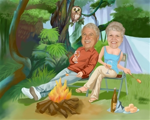 Camping Couple Caricature from Photos